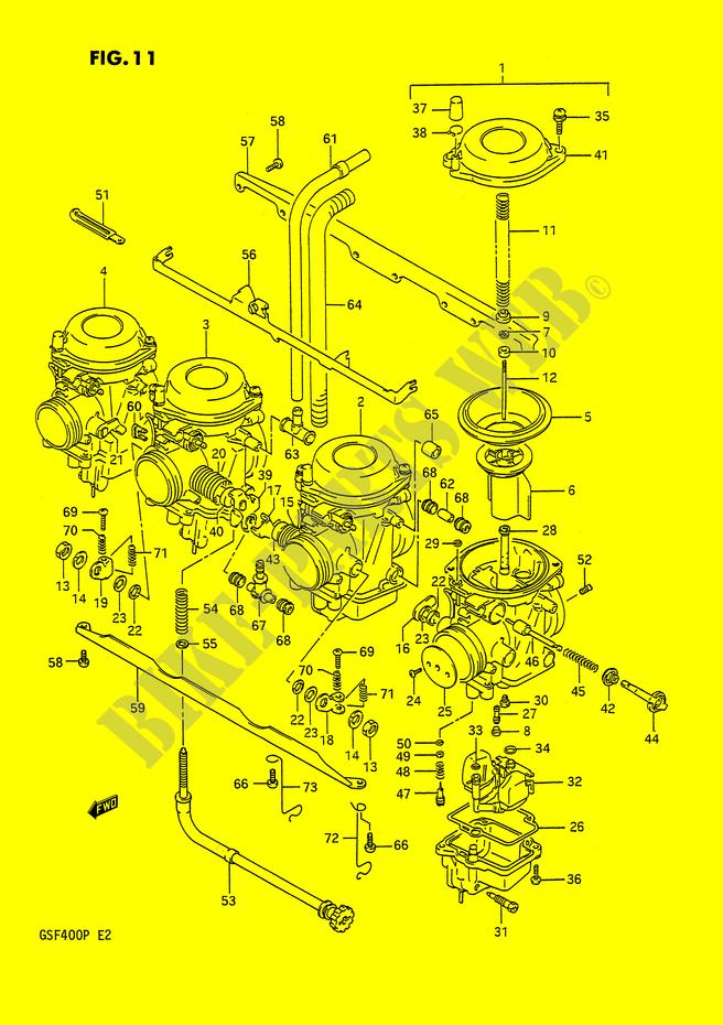 Conseguir guías de cortina Mikuni BST33SS CARBURADOR-Suzuki-Motocicleta-400-BANDIT-1993-GSF400P-E2--DP016055