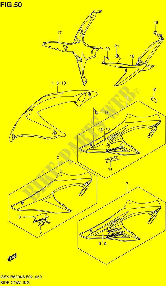 TAPA LATERAL MODEL K8 CARENADOS BASTIDOR GSX R600 K8 E02E19E24 2008 ...