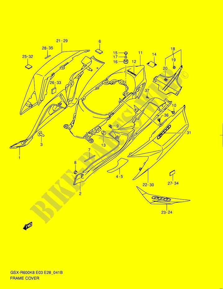 CUBRE ESTRUCTURA MODEL L0 CARENADOS BASTIDOR GSX R600 K9 E03E28E33 ...
